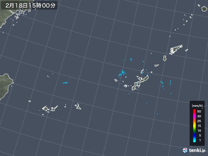 沖縄地方の雨雲レーダー(2020年02月18日)