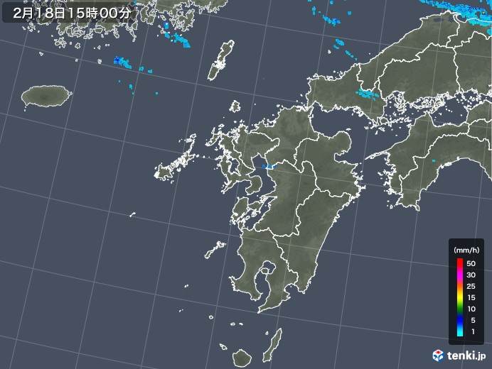九州地方の雨雲レーダー(2020年02月18日)