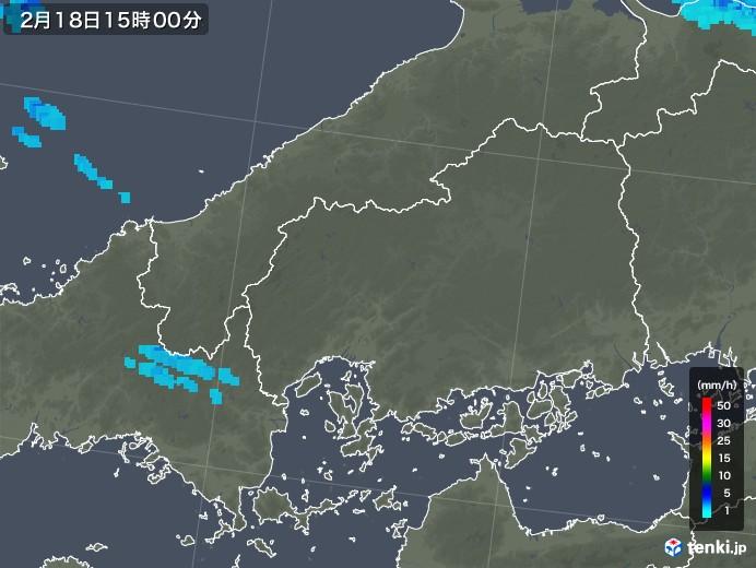 広島県の雨雲レーダー(2020年02月18日)