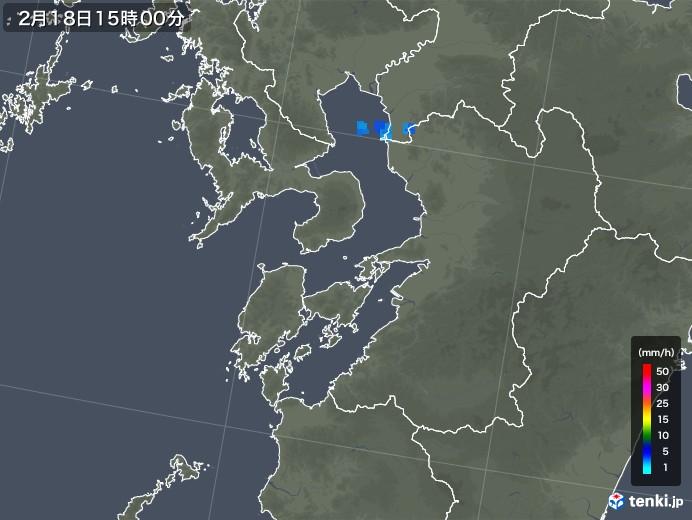 熊本県の雨雲レーダー(2020年02月18日)