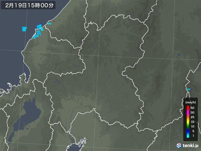 岐阜県の雨雲レーダー(2020年02月19日)