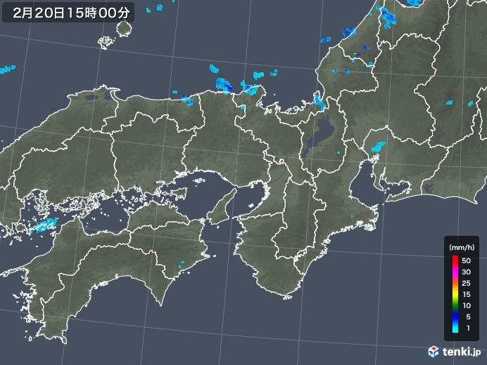 近畿地方の雨雲レーダー(2020年02月20日)