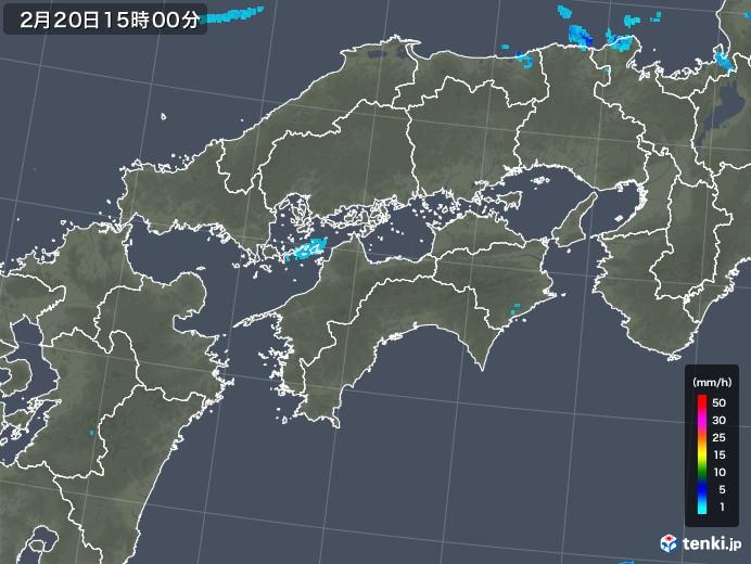 四国地方の雨雲レーダー(2020年02月20日)