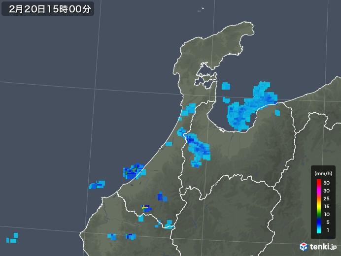 石川県の雨雲レーダー(2020年02月20日)