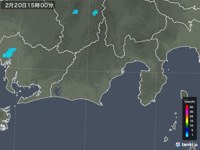 静岡県の雨雲レーダー(2020年02月20日)