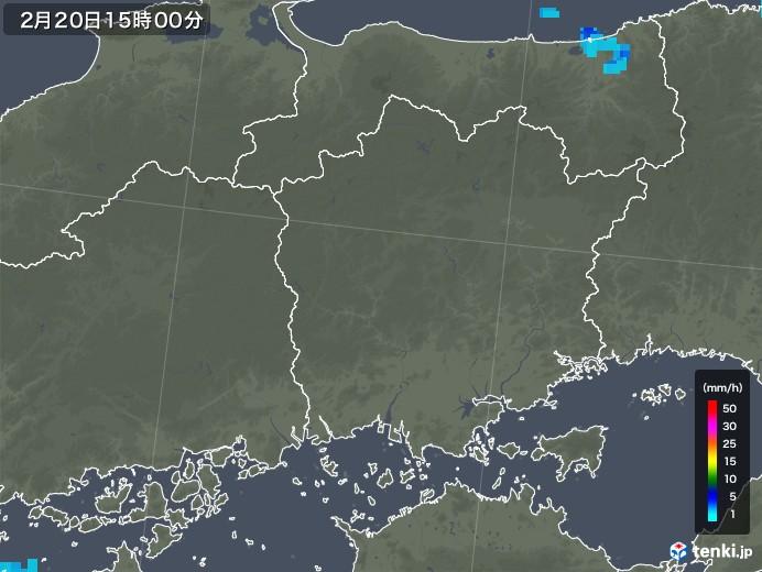 岡山県の雨雲レーダー(2020年02月20日)