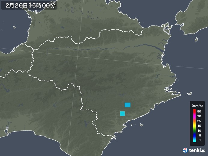 徳島県の雨雲レーダー(2020年02月20日)