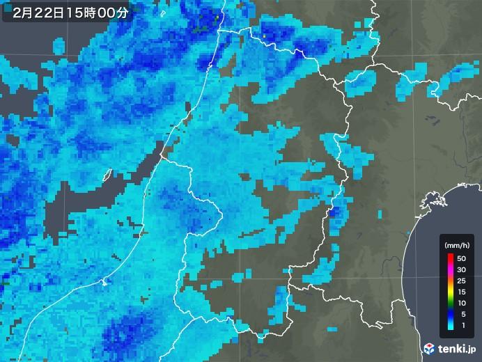 山形県の雨雲レーダー(2020年02月22日)