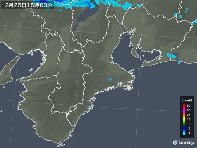 三重県の雨雲レーダー(2020年02月25日)