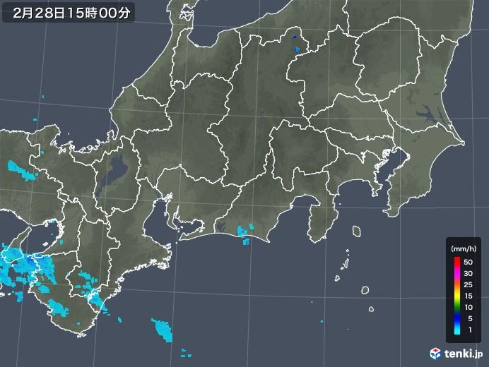 東海地方の雨雲レーダー(2020年02月28日)