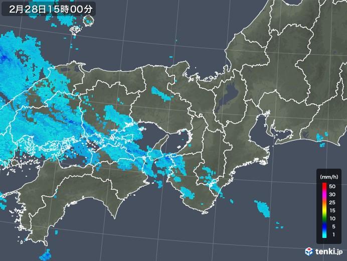 近畿地方の雨雲レーダー(2020年02月28日)