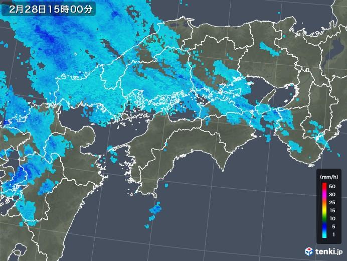 四国地方の雨雲レーダー(2020年02月28日)