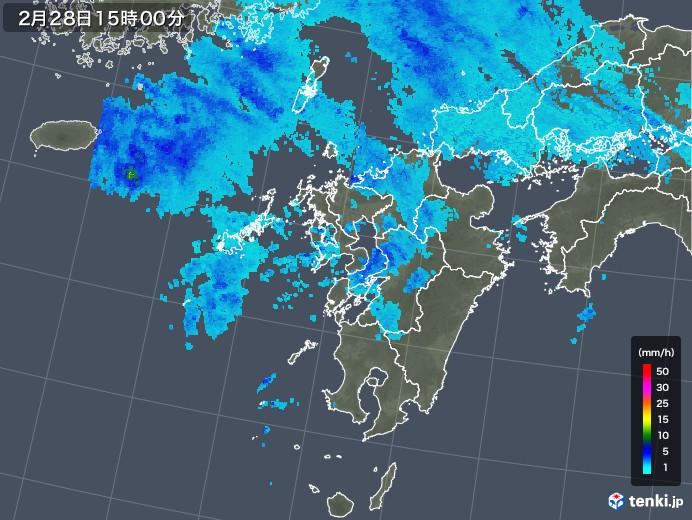 九州地方の雨雲レーダー(2020年02月28日)