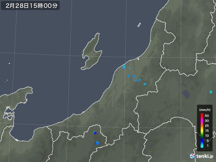新潟県の雨雲レーダー(2020年02月28日)