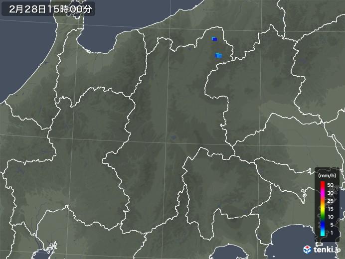 長野県の雨雲レーダー(2020年02月28日)