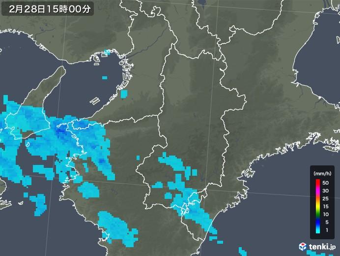 奈良県の雨雲レーダー(2020年02月28日)