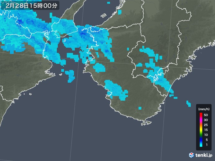 和歌山県の雨雲レーダー(2020年02月28日)