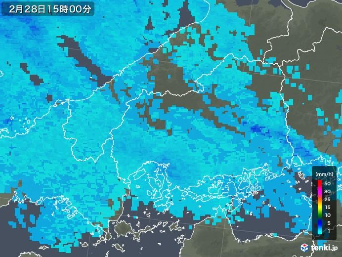 広島県の雨雲レーダー(2020年02月28日)