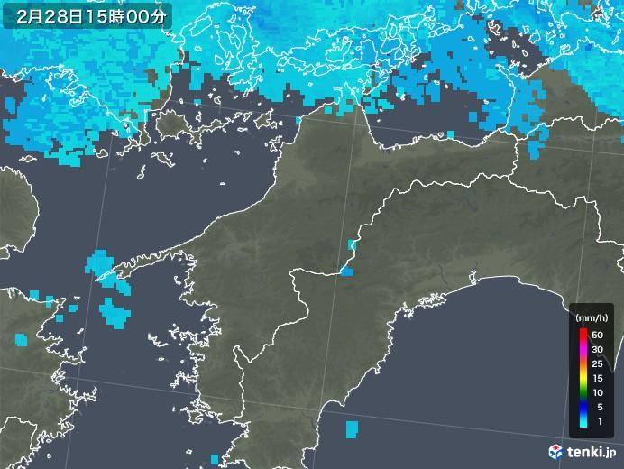 愛媛県の雨雲レーダー(2020年02月28日)