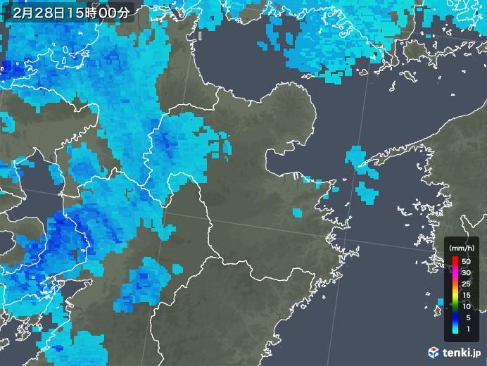大分県の雨雲レーダー(2020年02月28日)