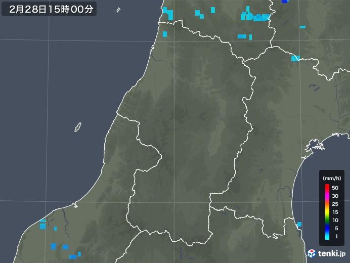 山形県の雨雲レーダー(2020年02月28日)