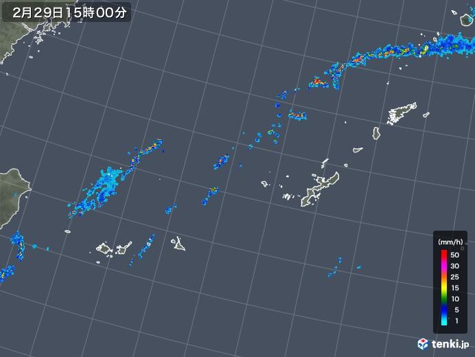 沖縄地方の雨雲レーダー(2020年02月29日)