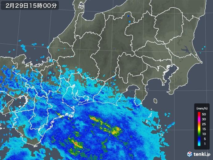 東海地方の雨雲レーダー(2020年02月29日)