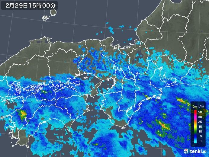 近畿地方の雨雲レーダー(2020年02月29日)