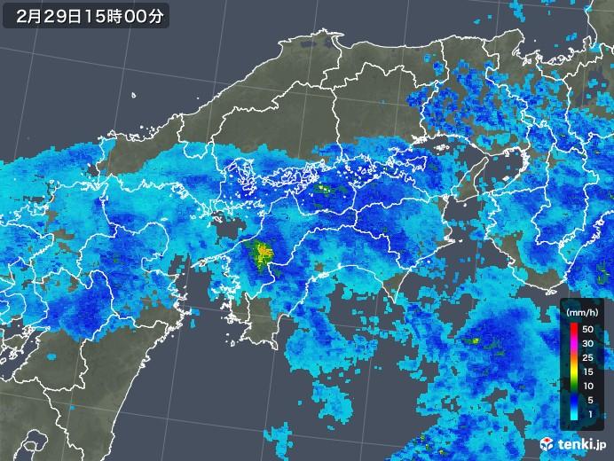 四国地方の雨雲レーダー(2020年02月29日)