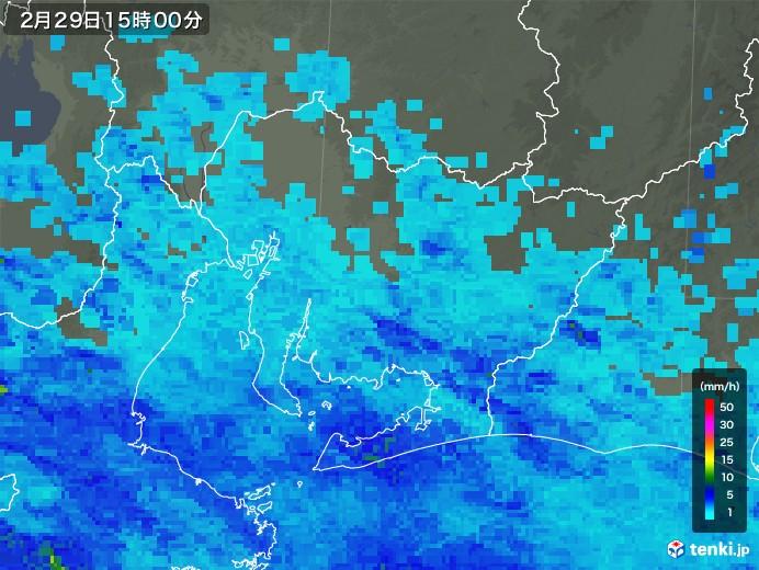 愛知県の雨雲レーダー(2020年02月29日)
