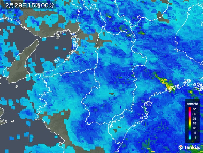 奈良県の雨雲レーダー(2020年02月29日)