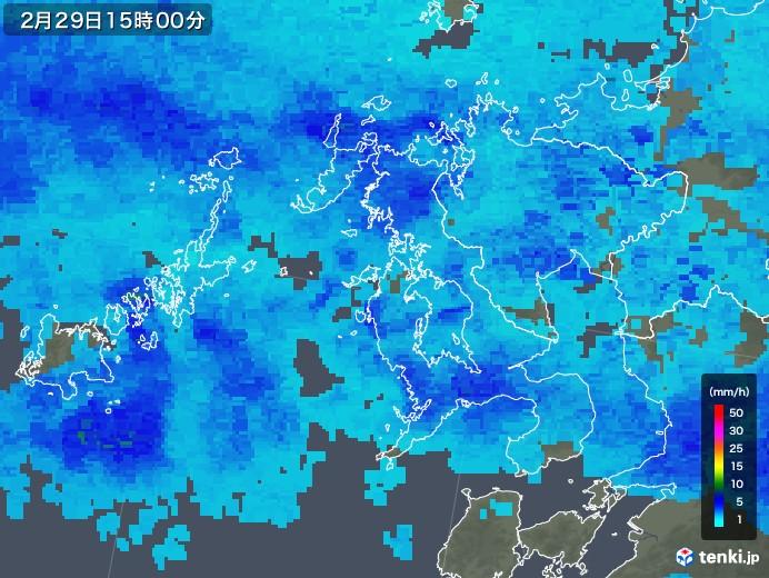 長崎県の雨雲レーダー(2020年02月29日)