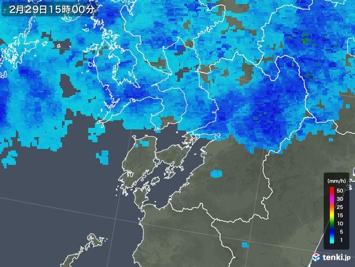 熊本県の雨雲レーダー(2020年02月29日)