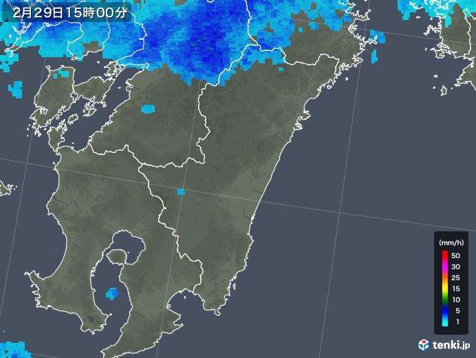 宮崎県の雨雲レーダー(2020年02月29日)