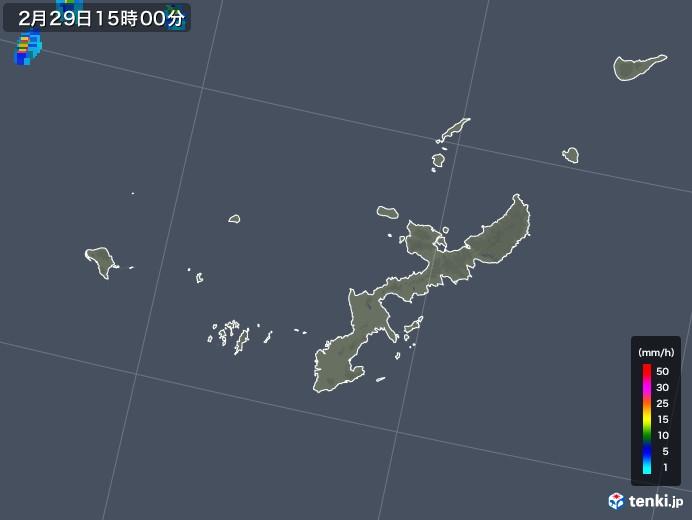 沖縄県の雨雲レーダー(2020年02月29日)