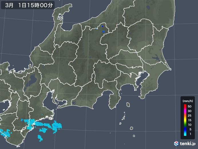 関東・甲信地方の雨雲レーダー(2020年03月01日)