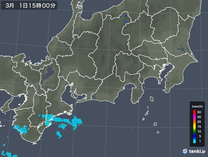 東海地方の雨雲レーダー(2020年03月01日)