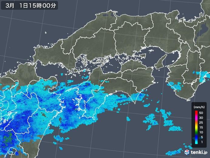 四国地方の雨雲レーダー(2020年03月01日)