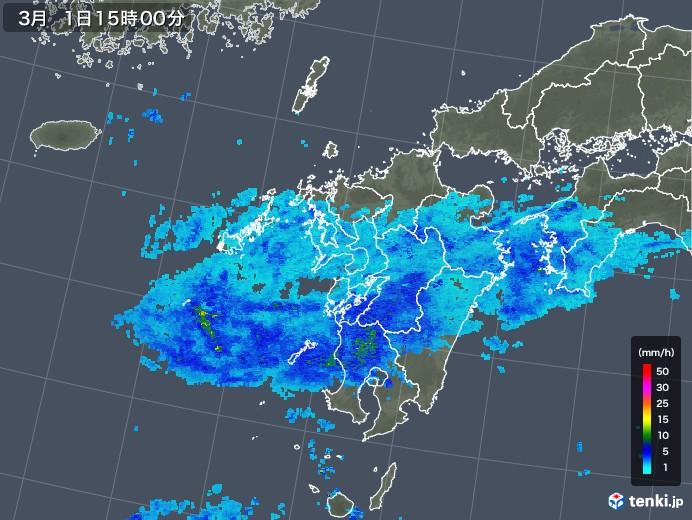 九州地方の雨雲レーダー(2020年03月01日)