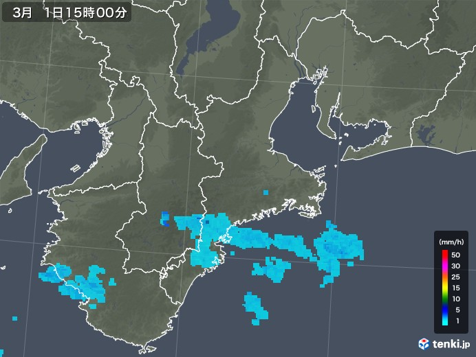 三重県の雨雲レーダー(2020年03月01日)