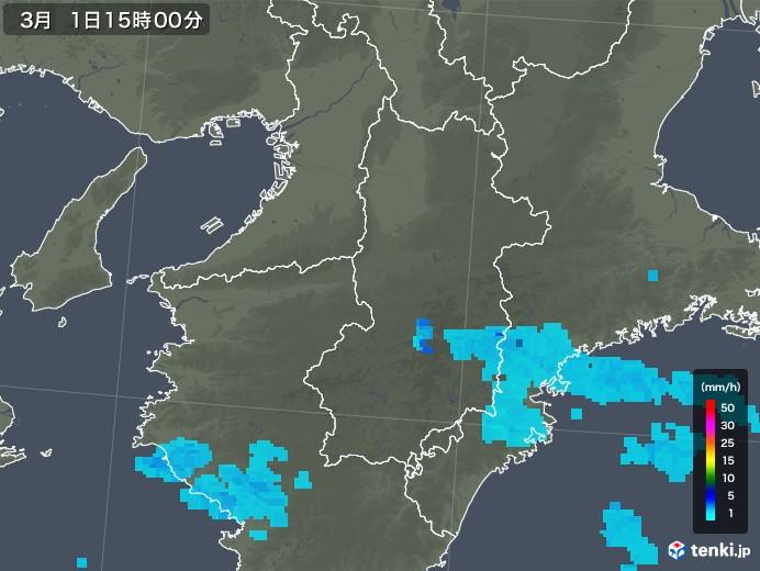 奈良県の雨雲レーダー(2020年03月01日)