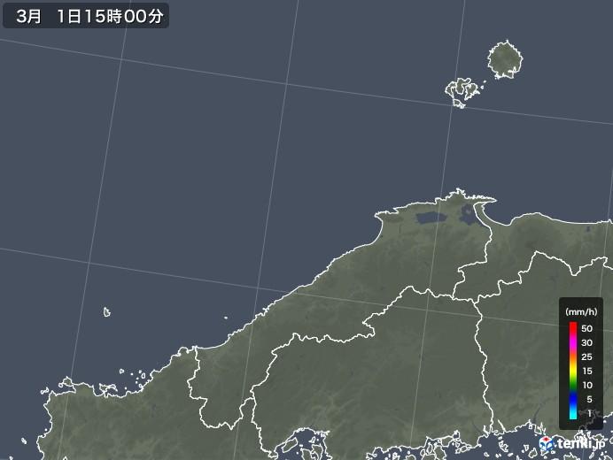 島根県の雨雲レーダー(2020年03月01日)