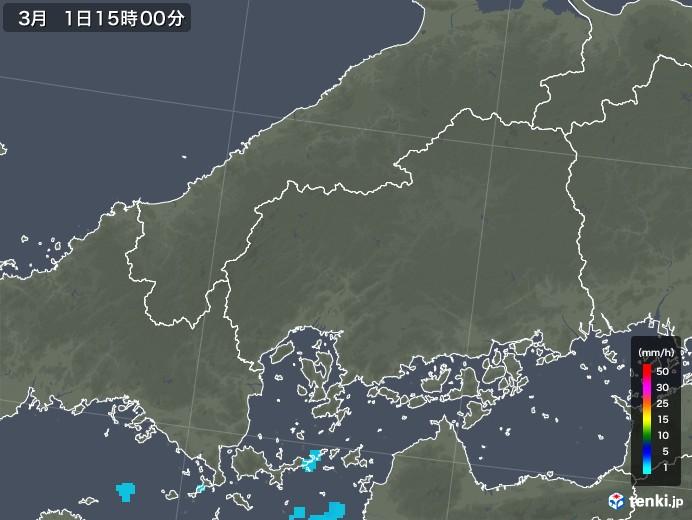 広島県の雨雲レーダー(2020年03月01日)