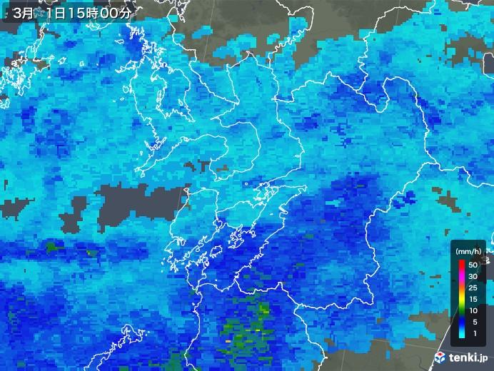 熊本県の雨雲レーダー(2020年03月01日)