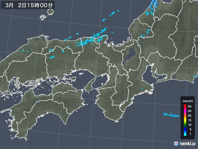 近畿地方の雨雲レーダー(2020年03月02日)