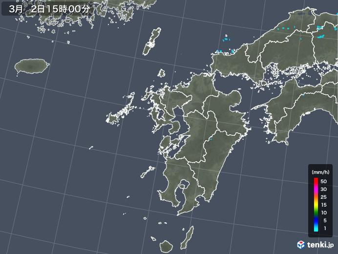 九州地方の雨雲レーダー(2020年03月02日)