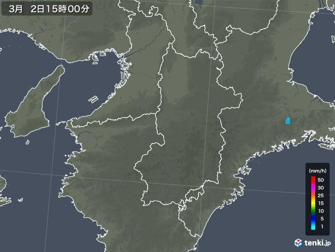 奈良県の雨雲レーダー(2020年03月02日)