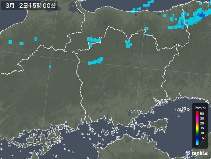 岡山県の雨雲レーダー(2020年03月02日)