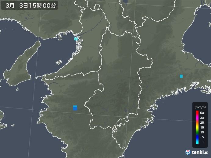 奈良県の雨雲レーダー(2020年03月03日)
