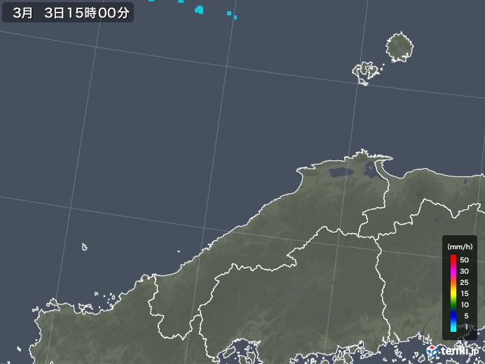 島根県の雨雲レーダー(2020年03月03日)
